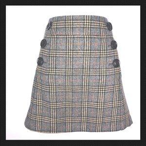 Gap Skirt 0 Gray Brown Plaid Mini Wool Career A44